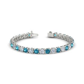 14K White Gold Bracelet with London Blue Topaz and Moissanite