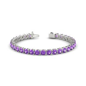 14K White Gold Bracelet with Amethyst