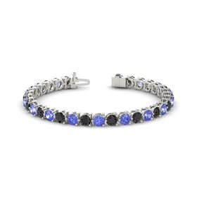 14K White Gold Bracelet with Black Diamond and Tanzanite