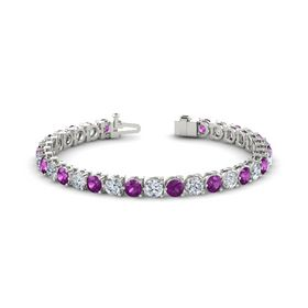 14K White Gold Bracelet with Rhodolite Garnet and Moissanite