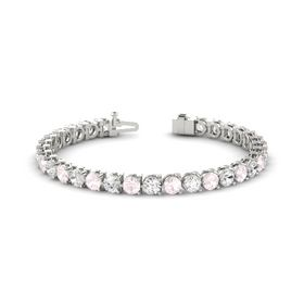 14K White Gold Bracelet with Rose Quartz & White Sapphire