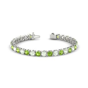14K White Gold Bracelet with Peridot and Green Amethyst
