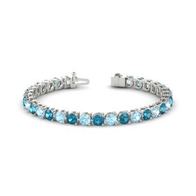 14K White Gold Bracelet with Aquamarine and London Blue Topaz