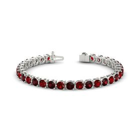14K White Gold Bracelet with Ruby and Red Garnet