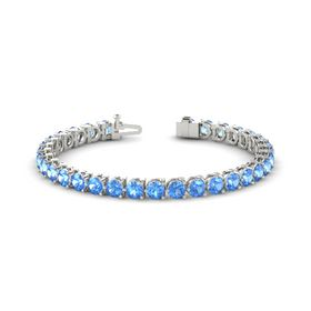 14K White Gold Bracelet with Blue Topaz