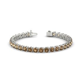 14K White Gold Bracelet with Smoky Quartz