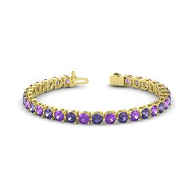 14K Yellow Gold Bracelet with Amethyst & Iolite