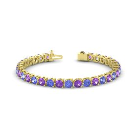 14K Yellow Gold Bracelet with Amethyst & Tanzanite