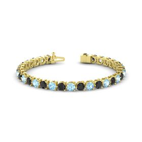 14K Yellow Gold Bracelet with Black Diamond and Aquamarine