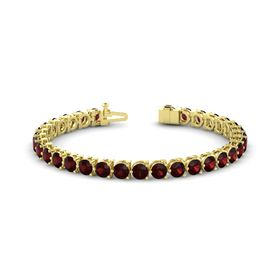 14K Yellow Gold Bracelet with Red Garnet
