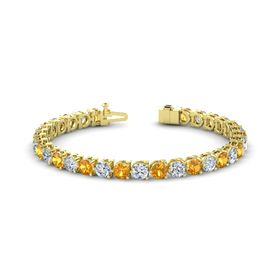 14K Yellow Gold Bracelet with Citrine and Moissanite