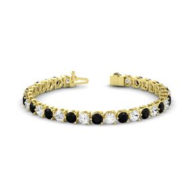 14K Yellow Gold Bracelet with White Sapphire & Black Onyx