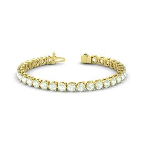 14K Yellow Gold Bracelet with Green Amethyst