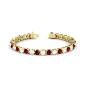 14K Yellow Gold Bracelet with Ruby and Rose Quartz