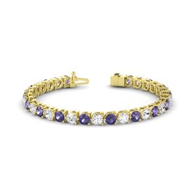 14K Yellow Gold Bracelet with Iolite and White Sapphire