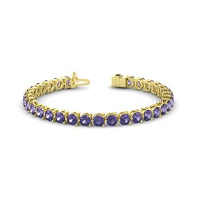 14K Yellow Gold Bracelet with Iolite