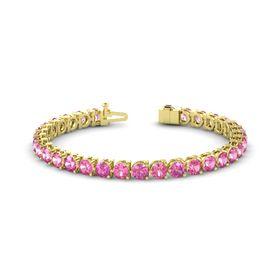 14K Yellow Gold Bracelet with Pink Tourmaline & Pink Sapphire