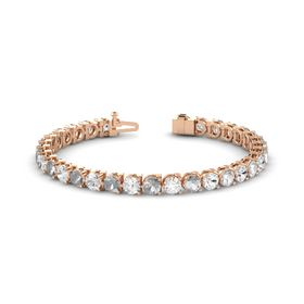 18K Rose Gold Bracelet with White Sapphire and Rock Crystal