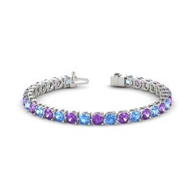 18K White Gold Bracelet with Blue Topaz and Amethyst