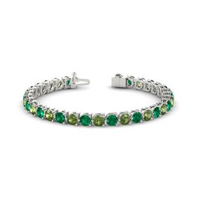 Palladium Bracelet with Emerald and Green Tourmaline