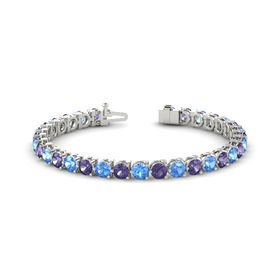 Palladium Bracelet with Iolite and Blue Topaz