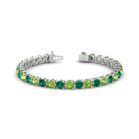 Platinum Bracelet with Emerald & Peridot