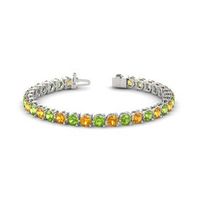 Platinum Bracelet with Citrine and Peridot