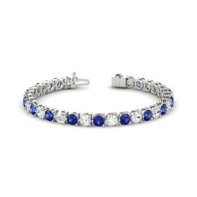 Platinum Bracelet with White Sapphire and Blue Sapphire