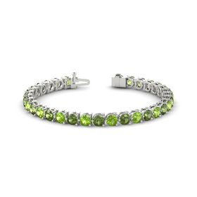 Platinum Bracelet with Peridot and Green Tourmaline