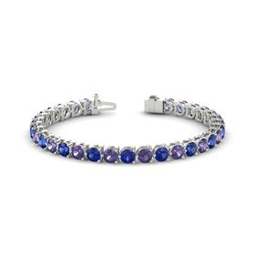 Platinum Bracelet with Iolite and Blue Sapphire