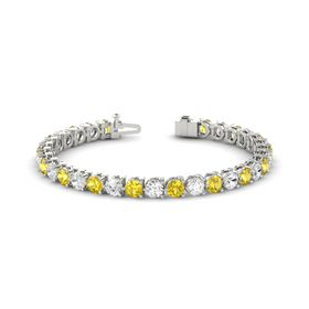 Platinum Bracelet with Yellow Sapphire and White Sapphire