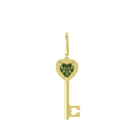 Heart Gem Key Charm