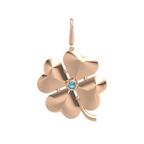 14K Rose Gold Charm with London Blue Topaz