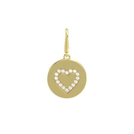 Heart Gem Disc Charm