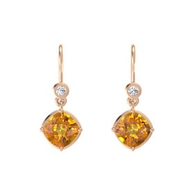 Cushion Citrine 14K Rose Gold Earrings with White Sapphire
