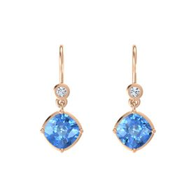 Cushion Blue Topaz 14K Rose Gold Earrings with Diamond