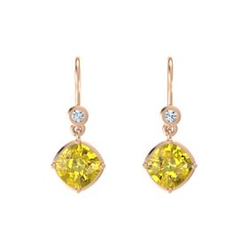 Cushion Yellow Sapphire 14K Rose Gold Earrings with Diamond