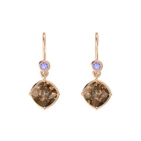 Cushion Smoky Quartz 14K Rose Gold Earring with Tanzanite