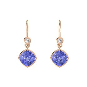 Cushion Tanzanite 14K Rose Gold Earrings with White Sapphire