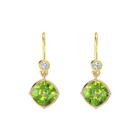 Cushion Peridot 14K Rose Gold Earring with Diamond