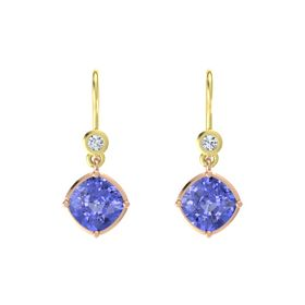 Cushion Tanzanite 14K Rose Gold Earring with Diamond