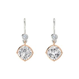 Cushion White Sapphire 14K Rose Gold Earring with Diamond