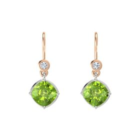 Cushion Peridot 14K White Gold Earring with Diamond