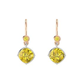 Cushion Yellow Sapphire 14K White Gold Earrings with Yellow Sapphire