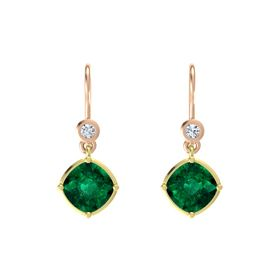 Cushion Emerald 14K Yellow Gold Earrings with Diamond