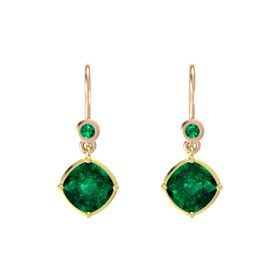 Cushion Emerald 14K Yellow Gold Earring with Emerald