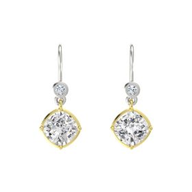 Cushion White Sapphire 14K Yellow Gold Earring with Diamond