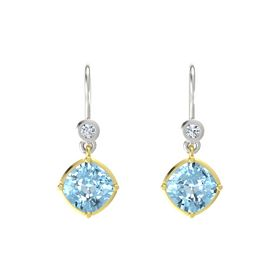 Cushion Aquamarine 14K Yellow Gold Earrings with Diamond