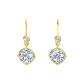 Cushion Moissanite 14K Yellow Gold Earring with Diamond