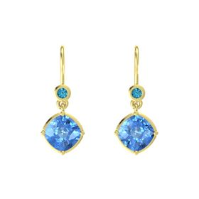 Cushion Blue Topaz 14K Yellow Gold Earring with London Blue Topaz